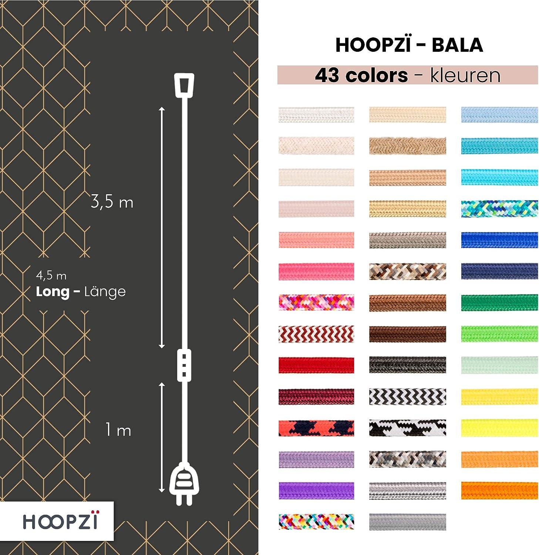 Hoopzi - Bala - Fassung e27 mit Kabel - Lampenfassung e27 mit Kabel und Schalter - Textilkabel mit Fassung - Lampenkabel - Pendelleuchte - 4,5 Meter - 36 Fraben - Seil Marineblau