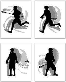 Lacrosse Wall Art Prints - Silhouette – Set of 4 (8x10) Poster Photos - Bedroom - Man Cave