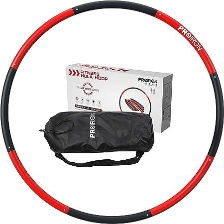 PROIRON フラフープ ダイエット 4色 内部重量が均一 収納袋付き 大人用 子供用 3サイズ調整可能 8本 最大直径98cm 1.2kg/1.8kg 柔らかい素材 厚さ4.4 mm 組み立てと分解が簡単