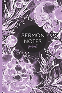 Sermon Notes Journal: Purple Floral 6x9 Journal With Prompts To Record Service Notes