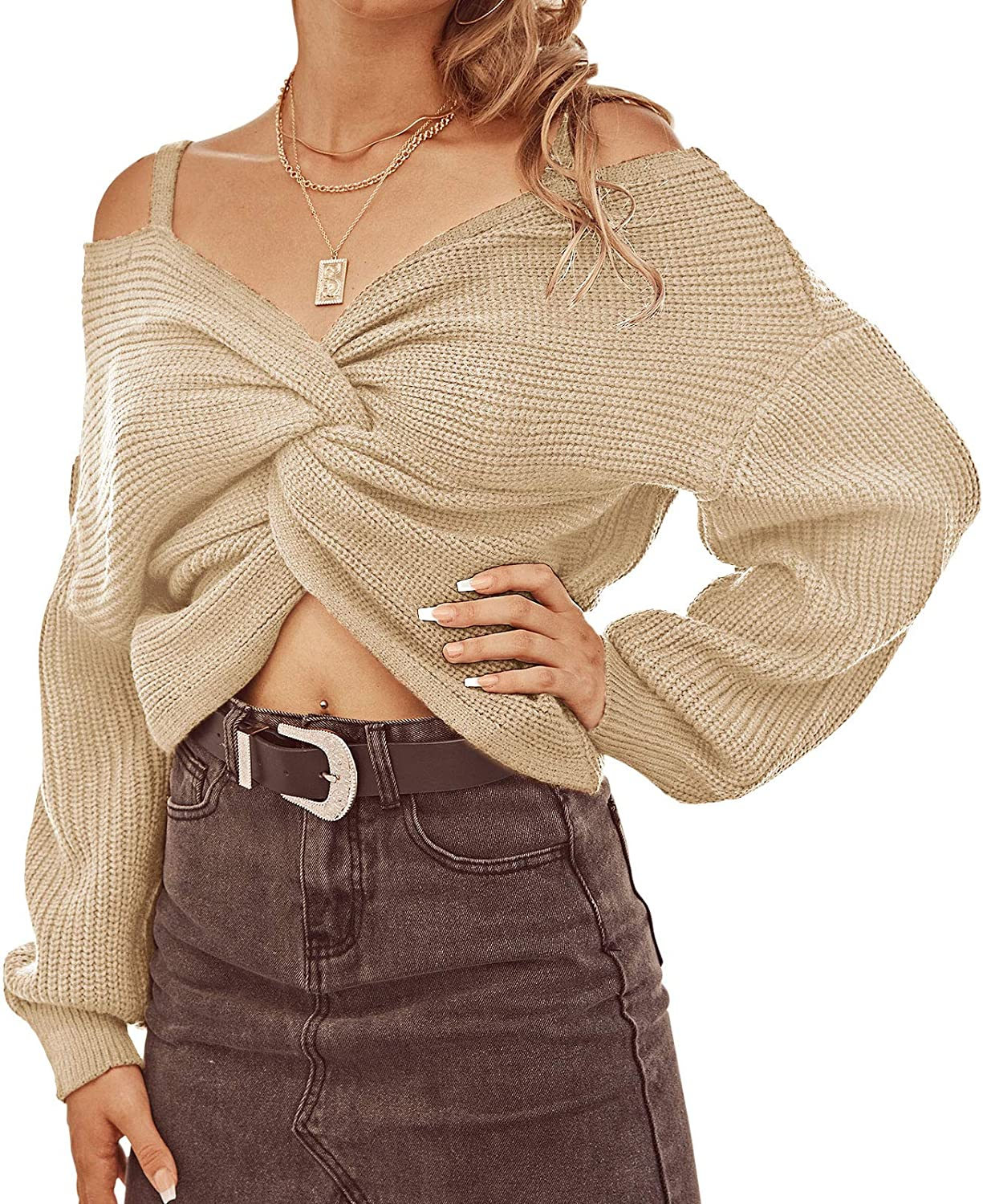 ZAFUL Women's V Neck Cropped Sweater Twist Back Wrap Ripped Long Sleeve Knit Pullover Tops