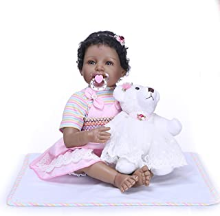 iCradle 22Inch55cm Reborn Baby Dolls Silicone Vinyl Handmade Black India Style Dolls Toys for Children Birthday Gifts Smile Girl