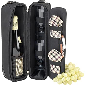 Picnic at Ascot Insulated Wine Tote with 2 Wine Glasses, Napkins and Corkscrew -Designed & Assembled in the USA