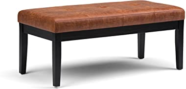 Simpli Home Lacey 43 inch Wide Rectangle Ottoman Bench Distressed Saddle Brown Tufted Footrest Stool, Faux Air Leather for Li