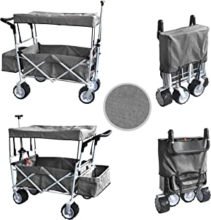 Grey Jumbo Wheel Push and Pull Handle Folding Wagon All Purpose Garden Utility Beach Shopping Travel CART Outdoor Sport Collapsible with Canopy Cover Free ICE Cooler Bag Easy Setup NO Tool Necessary