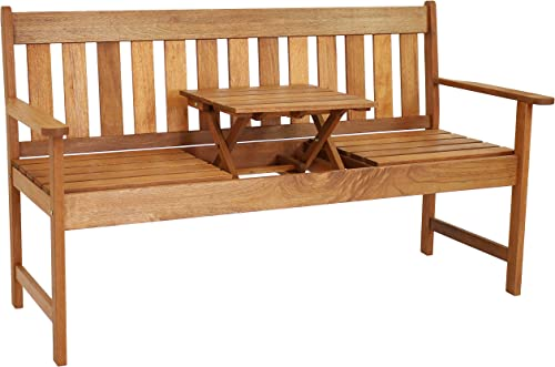 wholesale Sunnydaze Meranti Wood Outdoor Bench with Teak Oil Finish and Built-in Pop-Up Table - Comfortable Patio Seating for 2 Adults online - Modern Occasional Bench - Decorative Porch Furniture discount - 60-Inch online