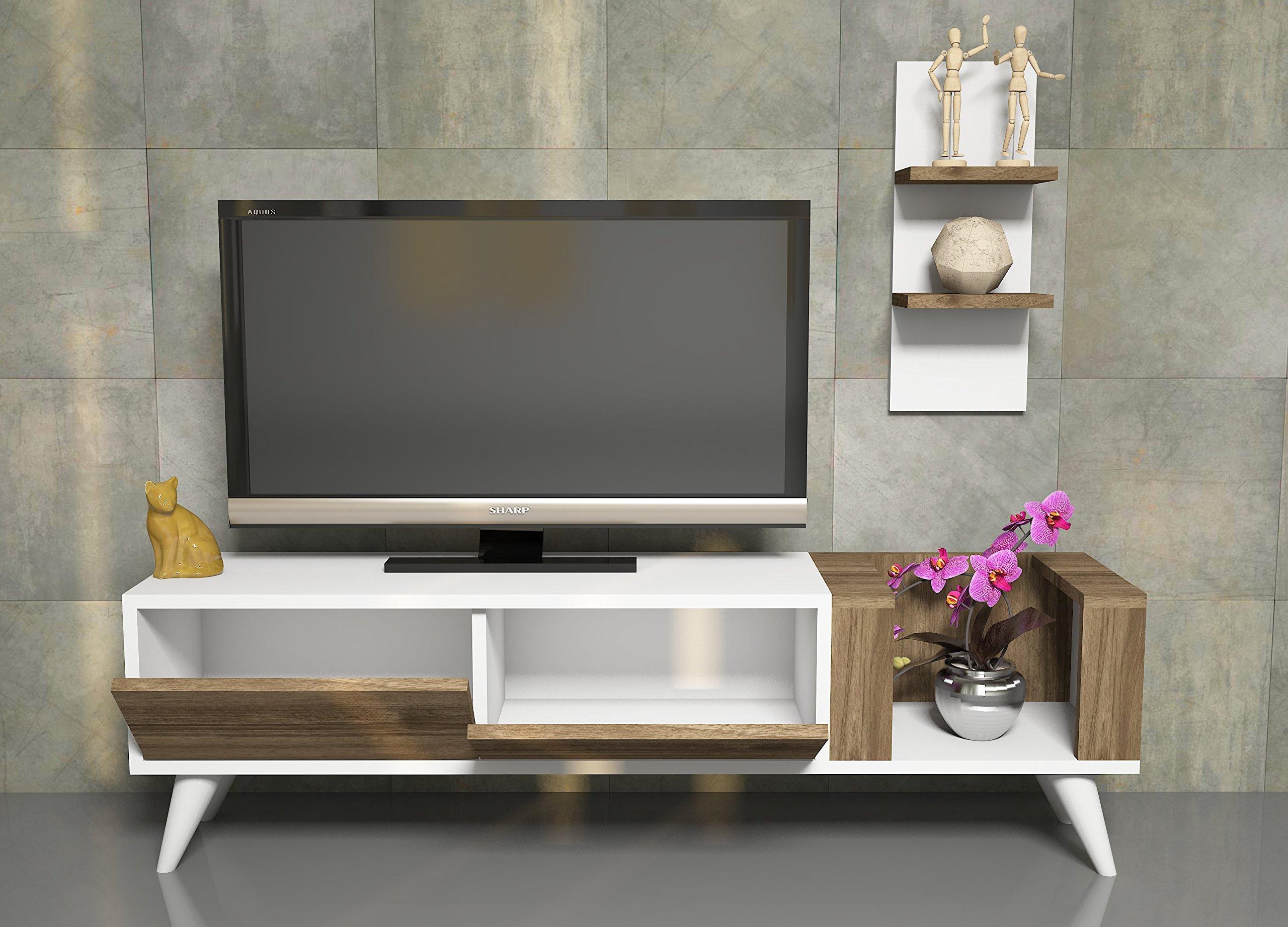 PERS Mueble salón comedor para televisión con 2 puerta y estante - Blanco / Nogal - Mueble bajo para televisor - Mesa de Televisión en diseño elegante: Amazon.es: Hogar