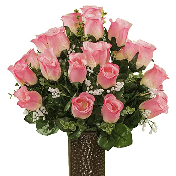 Ruby S Silk Flowers Pink Roses Featuring The Stay In The Vase Design C Flower Holder SM1960