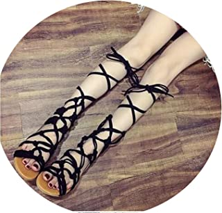 Plus Size 35-43 Summer Bohemia Hollow Out Cross Strap Flat Women Sandals Woman