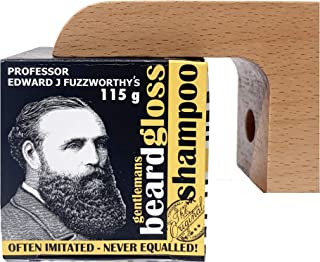 Professor Fuzzworthy's Beard Shampoo & Magnetic Soap Holder Men's Grooming Gift Kit | 100% Natural Beard Wash - Eco Friendly Wooden Soap Dish Dispenser for Shower Bath Kitchen | Organic Essential Oil
