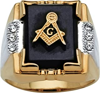 Palm Beach Jewelry Men's 14K Yellow Gold Plated Rectangular Shaped Natural Black Onyx and Round Crystal Two Tone Masonic Ring