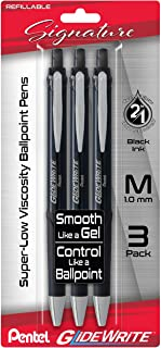 Pentel Glidewrite Signature Ballpoint Pen, (1.0mm) Medium, Black Barrel, Black Ink, 3-pk (BX930ABP3A)
