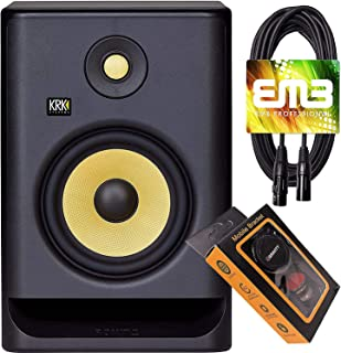"""KRK RP7 Rokit G4 Professional Bi-Amp 7"""" Powered Studio Monitor Black with EMB XLR Cable and Extra Bundle M"""
