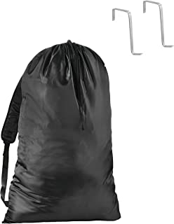 Hanging Laundry Bag with Bookbag Shoulder Straps | 31 inches tall x 22 inches wide | For College Dorm Students | Reinforced Stitching Prevents Ripping | Behind The Door Storage with Door Hooks