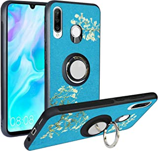 Alapmk Compatible with Huawei P30 Lite Case,[Pattern Design] with Kickstand Fit Magnetic Car Mount, Shockproof TPU Protective Case Cover for Huawei P30 Lite Flower SSDZ0044-3