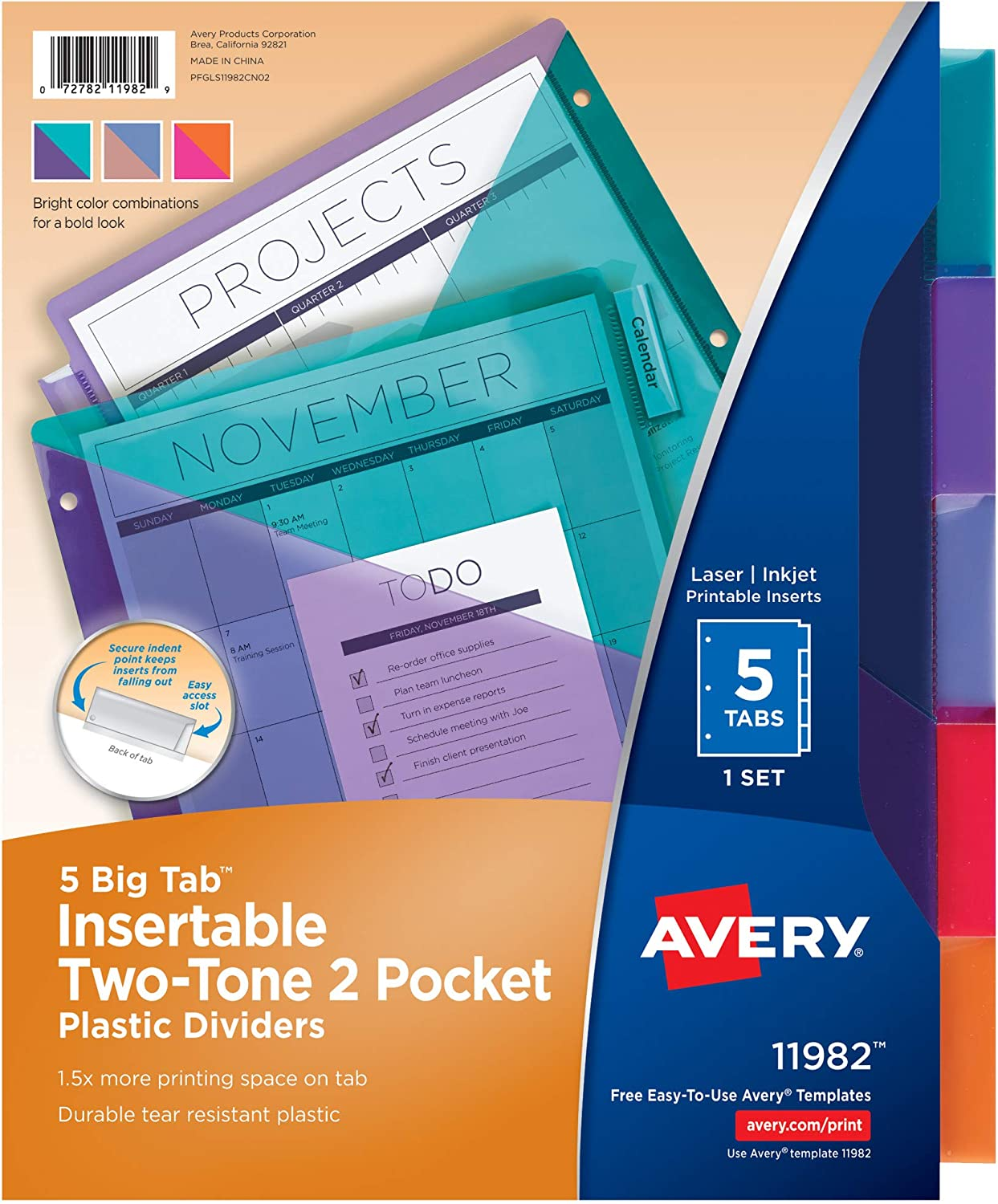 Avery Big Tab Insertable Plastic Dividers Two-Tone specialty shop Two Miami Mall Colors