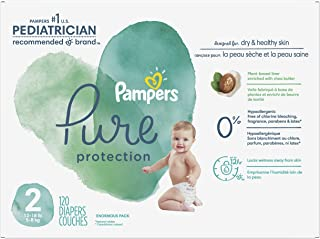Diapers Size 2, 120 Count - Pampers Pure Protection Disposable Baby Diapers, Hypoallergenic and Unscented Protection, Enor...