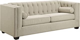 Cairns Stationary Sofa with Tufted Back and Lumbar Pillows Oatmeal