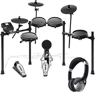 Alesis Nitro Mesh Kit – Eight Piece Mesh Electronic Drum Set With 385 Sounds + Numark HF125 – Portable Headphones With Clo...