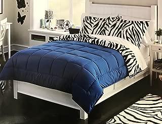 Luxlen Zebra Pattern Comforter Set, Reversible, Twin, Blue