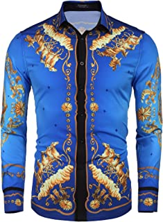 COOFANDY Men's Floral Dress Shirt Slim Fit Casual Fashion Luxury Printed Shirt Long Sleeve Button Down Shirts