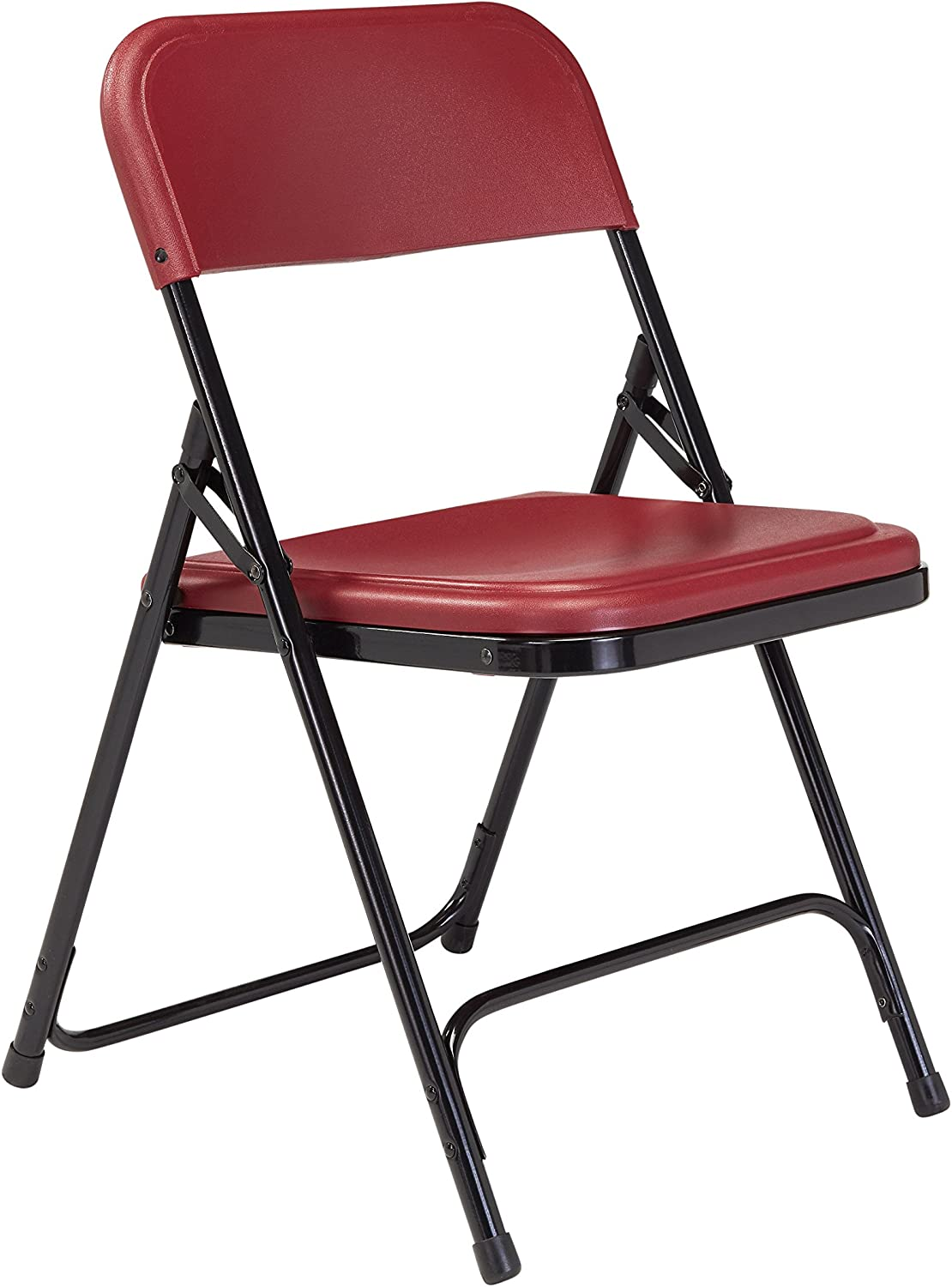 National Public Seating 800 Series Steel Frame Premium Light Weight Plastic Seat and Back Stacking Folding Chair with Double Brace, 480-Pound Capacity, Burgundy Black, Carton of 4
