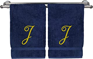 Monogrammed Hand Towel, Personalized Gift, 16 x 30 Inches - Set of 2 - Gold Embroidered Towel - Extra Absorbent 100% Turkish Cotton - Soft Terry Finish - for Bathroom, Kitchen and Spa - Script J Navy