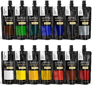 Arteza Bolsas de pinturas acrílicas para el arte   Juego de 14 colores numerados   14 bolsas de 120 ml   Pintura acrílica de alta calidad para lienzos