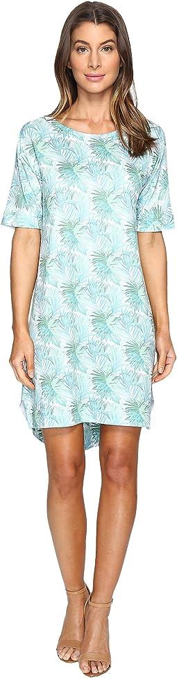 Tropical Leaf Elbow Sleeve Dress