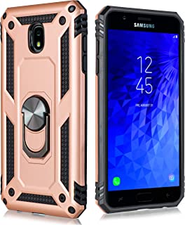 Galaxy J7 2018 Case,Samsung Galaxy J7 Aero/J7 Top/J7 Crown/J7 Aura/J7 Refine/J7 Star/J7 Eon Case, Magnetic Rotating Ring Holder Kickstand Case [Tempered Glass] 5.5 Inch Samsung Galaxy J7 2018