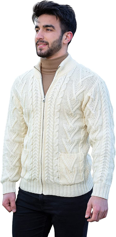 100% Merino Wool Men's Zipper Cable Knit Cardigan Ranking Max 51% OFF TOP12 Winter Sw Warm
