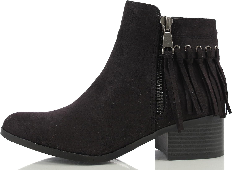 City Classified Women's Bean Faux Suede Fringe Stacked Heel Ankle Bootie, Cognac, 7 M US