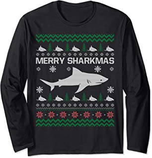 Merry Sharkmas Shark Santa Ugly Christmas Costume Gift Long Sleeve T-Shirt