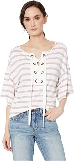 Stripe Knit Crepe Short Sleeve Top with Eyelets