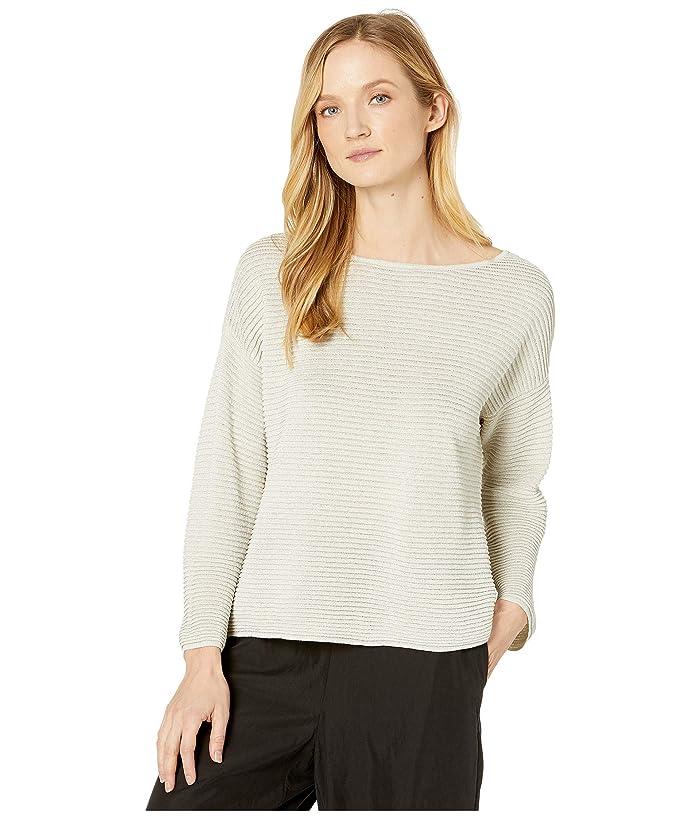Eileen Fisher  Sparkle Fine Organic Linen Crepe Bateau Neck Bracelet Sleeve Top (Bone) Womens Clothing