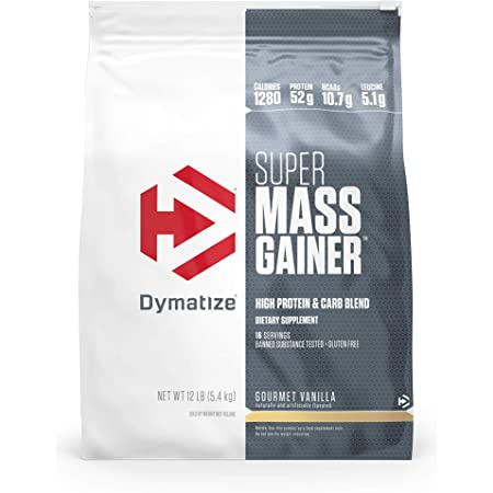 Dymatize Super Mass Gainer Protein Powder, 1280 Calories & 52g Protein, 10.7g BCAAs, Mixes Easily, Tastes Delicious, Gourmet Vanilla, 12 lbs