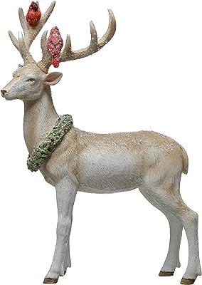 "Creative Co-Op 7-1/4""L x 4"" W x 10-1/4""H Resin Reindeer w/Cardinals & Wreath Figures and Figurines, Multi"
