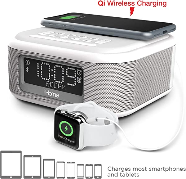 IHome IBTW23 Alarm Clock Bluetooth Stereo Lightning IPhone Qi Wireless Charging Dock Station IPhone Xs XS Max XR X IPhone 8 7 6 Plus USB Port Charge USB Device