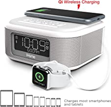 iHome iBTW23 Alarm Clock Bluetooth Stereo Lightning iPhone Qi Wireless Charging Dock Station iPhone Xs, XS Max, XR, X, iPhone 8/7/6 Plus USB Port Charge USB Device