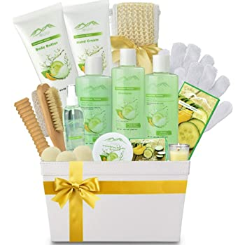 Spa Gift Baskets And Beauty Gift Basket - Melon Cucumber Spa Kit Bed and Bath Body Works Gift Baskets for Women & Men!Relaxing Bath Gift Set Bubble Bath Basket Body Lotion Gift Set for Holiday Gift Baskets!