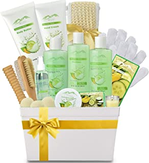 Spa Gift Baskets Beauty Gift Basket - Spa Basket, Spa Kit Bed and Bath Body Works Gift Baskets for Women! Bath Gift Set Bubble Bath Basket Body Lotion Gift Set for Holidays (Cucumber Melon) (Cucumber)