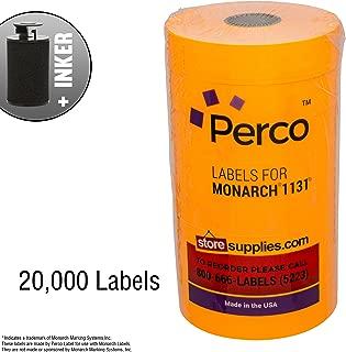 Fluorescent Orange Pricing Labels for Monarch 1131 Price Gun – 8 Rolls, 20,000 Pricemarking Labels – with Bonus Ink Roll
