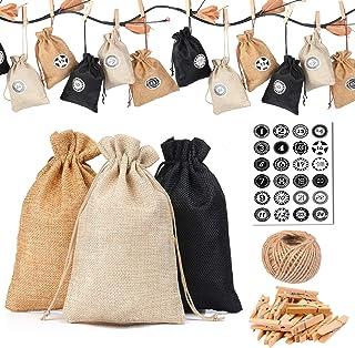 comprar comparacion KATELUO 24 Calendario de Adviento-Saquitos de Tela para, con 1-24 Adhesivos Digitales de Adviento, Bolsa para Regalo Navid...