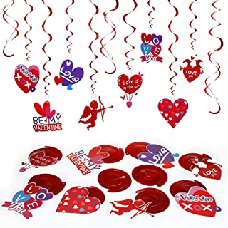 LEMESO 30 piezas Día de San Valentín Decoraciones Colgantes Decoraciones Corazón Rojo Guirnaldas Espiral Remolino Reflecta...