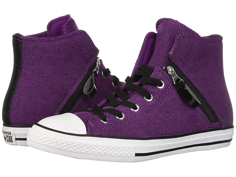 a98ec93cff90 Converse Kids Chuck Taylor All Star Pull-Zip Hi (Little Kid Big Kid) (Icon  Violet Black White) Girl s Shoes