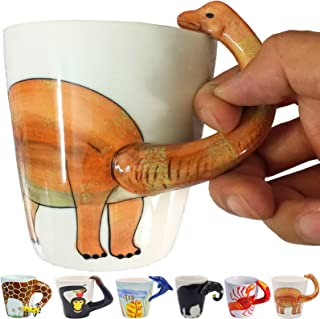 Dinosaur 3D Ceramic Mug, Long necked dragon Handle Novelty Animal Cup Gift for Christmas, Thanksgiving Day, Mother's Day, Father's Day (Dinosaur)