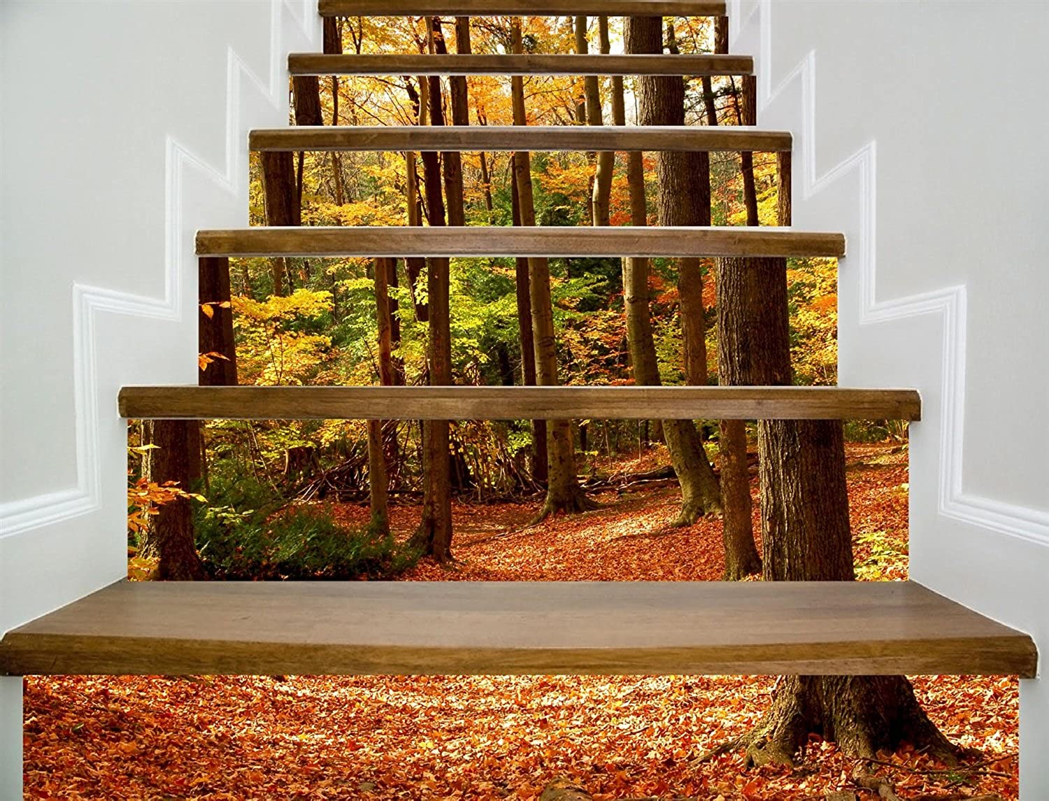 Stairs Self-Adhesive Wallpaper Autumn Leaf Decorating Home Decor 3D Removable DIY Stereo Sticker Modern HD Waterproof Stairs Wallpaper Buy Three Get One