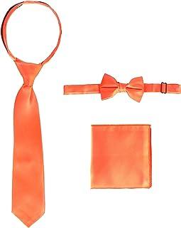 Gioberti Kid's and Boy's Solid Zipper Tie, Bow Tie and Handkerchief Set