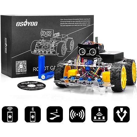 OSOYOO Arduino UNO 多機能 教育 ロボット カー | STEM リモコン App 4WD構築、プログラミング、学習 のための 教育用 電動 ロボティクス コーディング 方法 | スターターキット 電子工作 | 電池付
