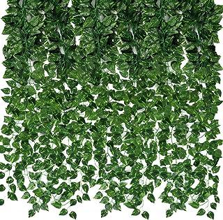 CEWOR Artificial Ivy Fake Greenery Vine Leaves for Home Wedding Garden Swing Frame Decoration (C-24pcs)